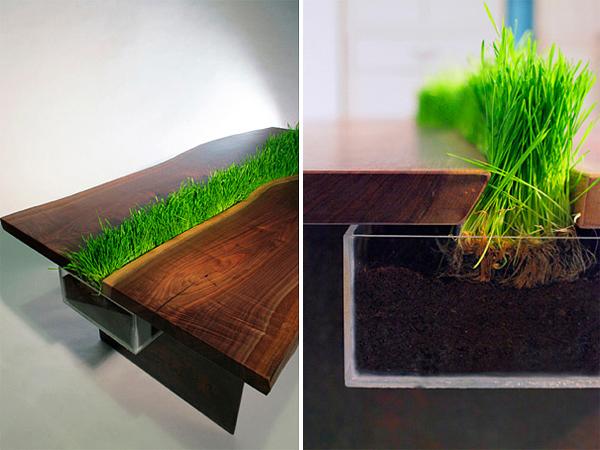 cooler pflanzen behälter tisch weizengras holz design