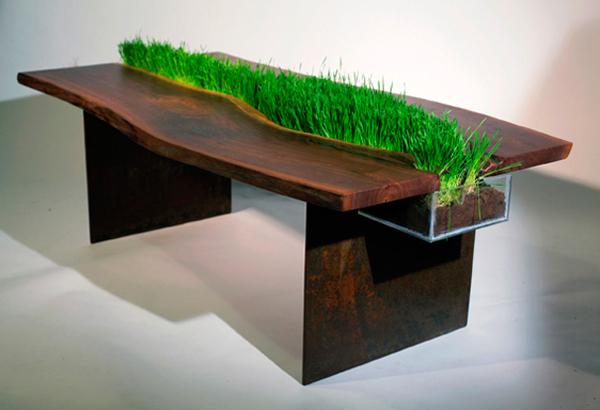 cooler pflanzen behälter tisch weizengras holz massiv