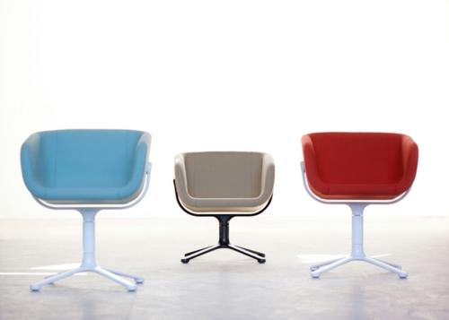 cooles büro stuhl design freistehend blau rot beige farben