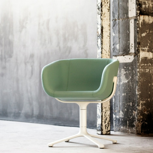 cooles büro stuhl design freistehend grün klar formen linien