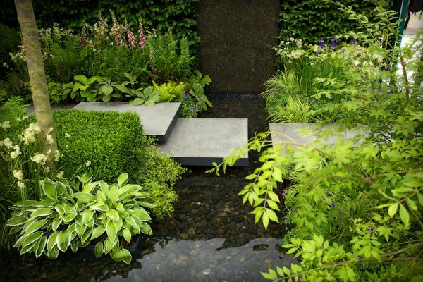 gartenteich idee dekorativ schön cool erholungsecke wassergarten pflanzen