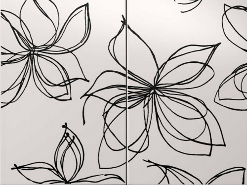 designer badezimmer fliesen art kunst blumenmuster schwarz weiß