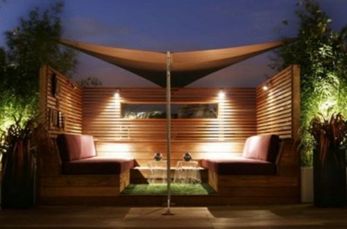 designer dachterrasse einrichtung cool holz sofa sonnensegel