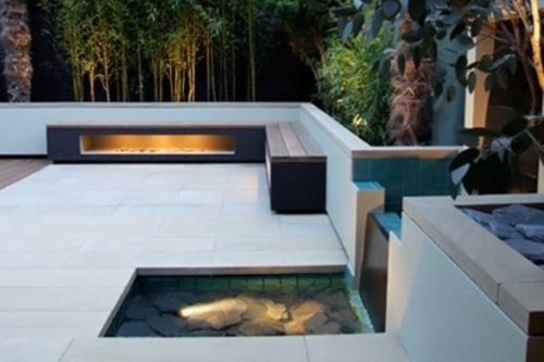 designer dachterrasse einrichtung cool kamin wasser bank
