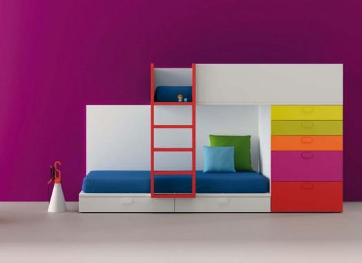 Designer Möbel Bm2000 Kinderzimmer Lila Wand Etagenbett Schubladen