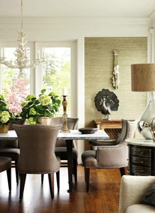 elegante esszimmer design ideen feminin braune polsterung - Ideen Esszimmergestaltung