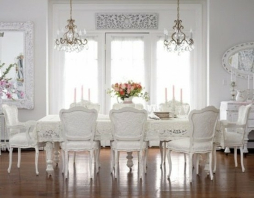 elegante esszimmer design ideen feminin schnee weiß ambiente