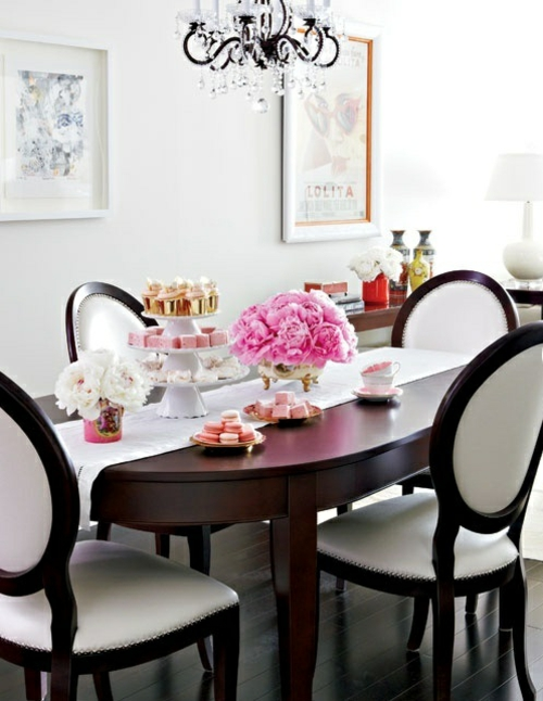 elegante esszimmer design ideen feminin schwarz weiß texturen stuhl