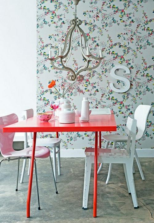 elegante esszimmer design ideen feminin tisch rot