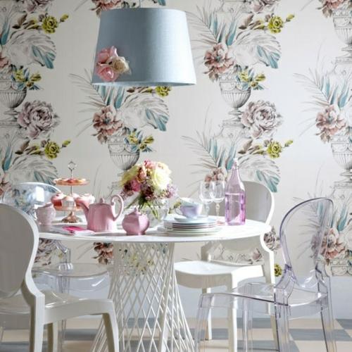 elegante esszimmer design ideen klassisch weiblich pastellfarben