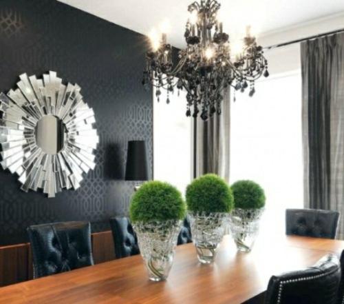 elegante esszimmer designs idee blumen behälter glas wandspiegel