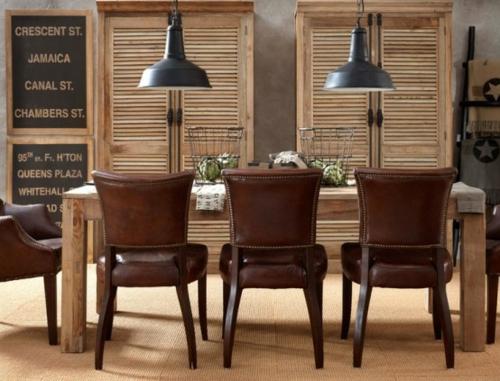elegante esszimmer designs idee leder stuhl hängen lampen