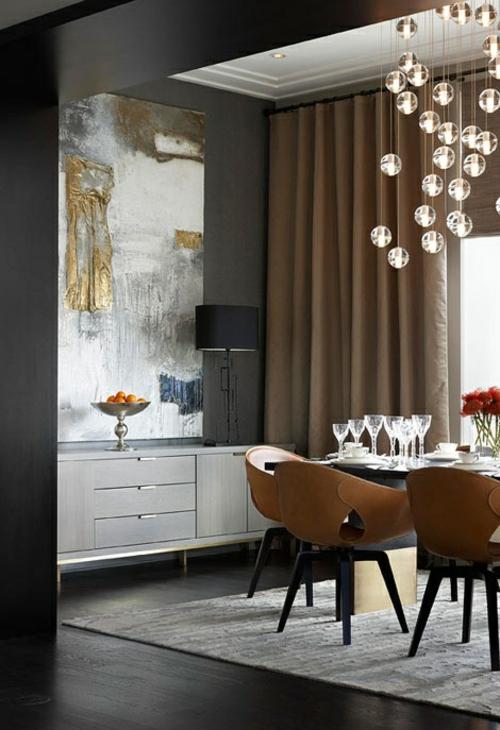 elegante esszimmer designs idee modern auffallend hängelampen
