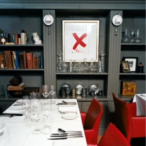 elegante esszimmer designs idee modern rote leder stuhl