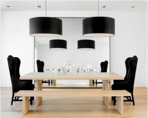 elegante esszimmer designs idee schwarz minimalistisch holz