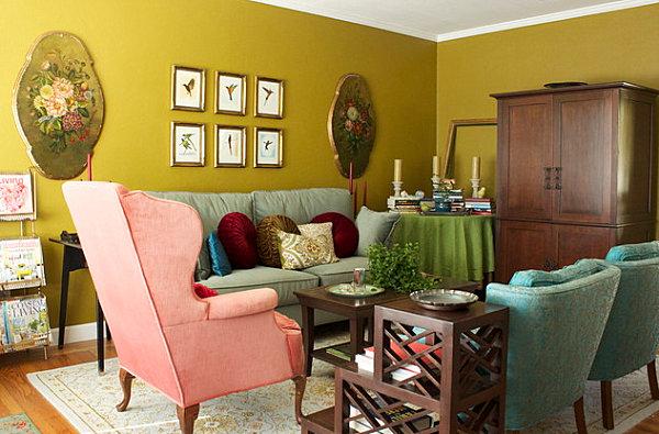 farbiges interior design gr n in der hauptrolle modern. Black Bedroom Furniture Sets. Home Design Ideas