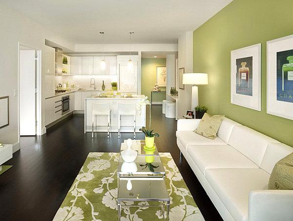 Wohnzimmer Modern wohnzimmer modern grün : Farbiges Interior Design - Grün in der Hauptrolle - modern und frisch
