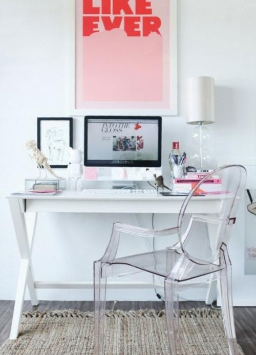 feine home office ideen elegant acryl weiß schreibtisch modern