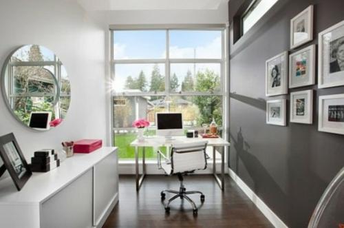 feine home office ideen elegant feminine weiblich groß fenster
