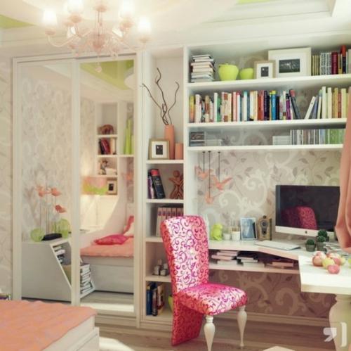feine home office ideen elegant floral muster lehnstuhl