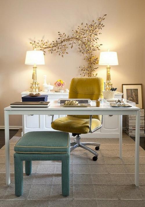 feine home office ideen elegant gelb sessel relax