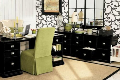 feine home office ideen elegant grün stuhldecke schwarz schublade