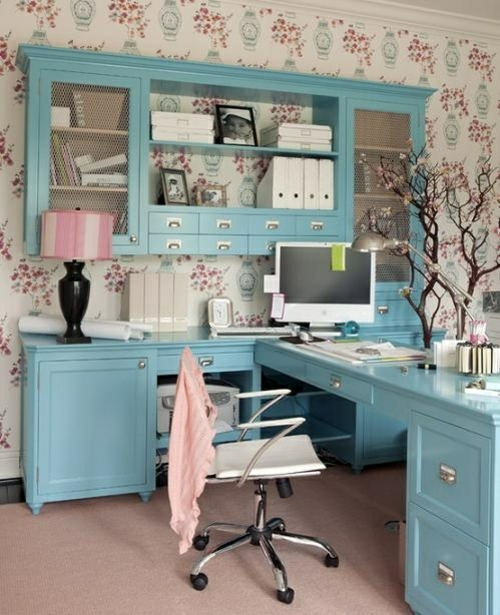 feine home office ideen elegant klassisch blaue möblierung