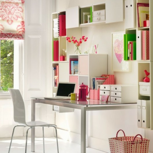 feine home office ideen elegant mädchenhaft weiß möblierung