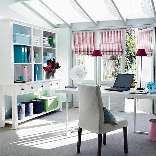 feine home office ideen elegant regale schrank weiß