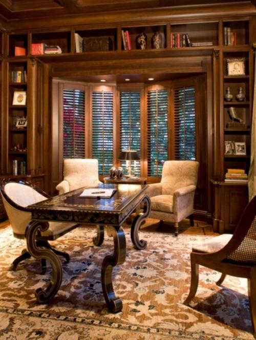 feine home office ideen elegant vintage stil braun farben