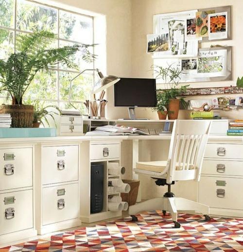 feine home office ideen elegant weiß möbel holz