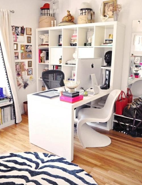 feine home office ideen elegant weiß stuhl plastisch
