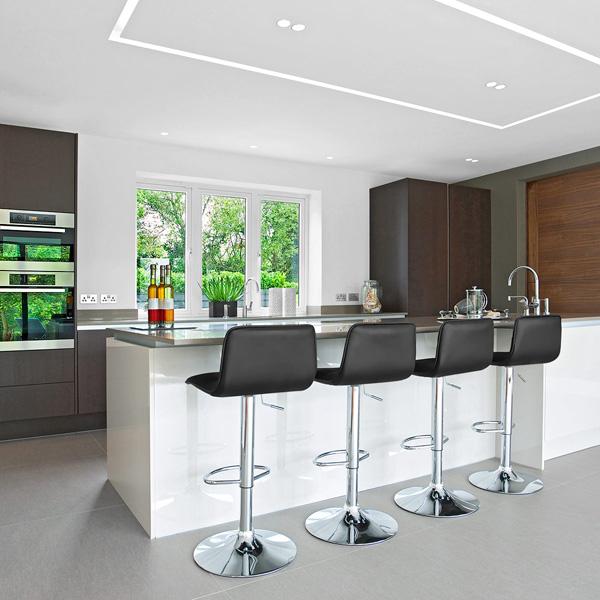 frische coole küchen farben arbeitsplatte küchenblock leder barhocker