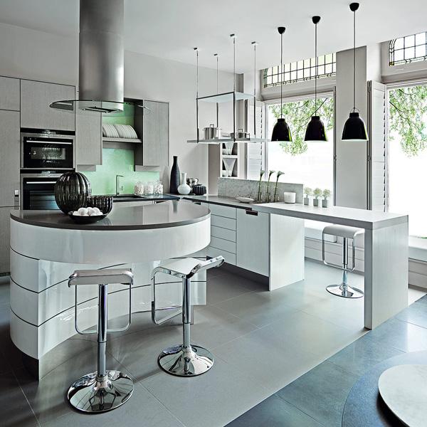 frische coole küchen farben arbeitsplatte weiß glanzvoll