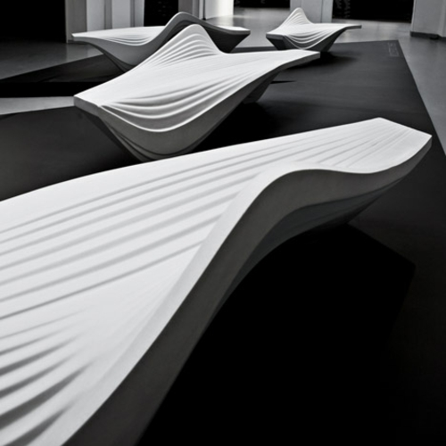 futuristische coole sitzbank design weiß kurven