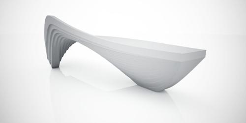 futuristische coole sitzbank  design weiß oberfläche ungewöhnlich