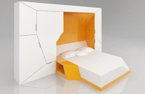 schrankbett designs bettdecke orange boxetti