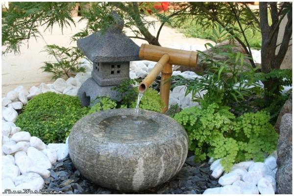 gartengestaltung mit steinen japanischer garten wasser bambus