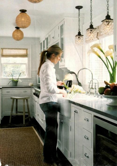 glas kugel kronleuchter dekoration küche idee schick