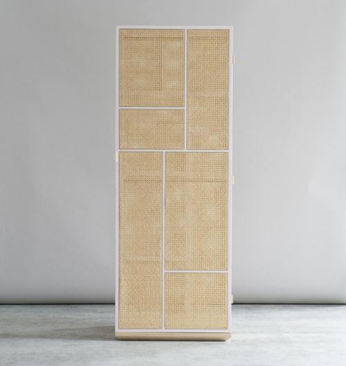 Große Schrank Designs aus Rattan weiß grau  birken rahmen