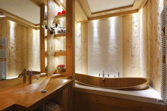 hölzerne inneneinrichtung haus naturholz ausstattung bad badewanne