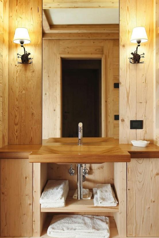 hölzerne inneneinrichtung haus naturholz ausstattung badezimmer