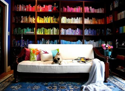 haus bibliothek bunt wandregale weiß sofa hund idee cool