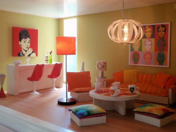 interessante coole farben beim innendesign pop art