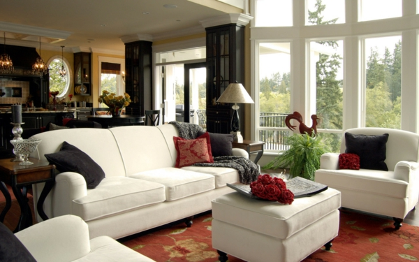 interessante coole farben beim innendesign weiß sofa wohnzimmer