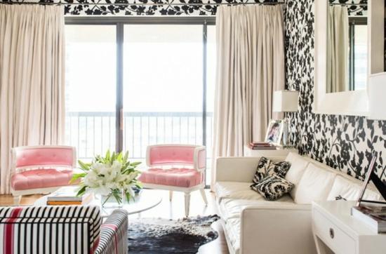 interior design home ideen femenin wohnzimmer dezent elegant rosa