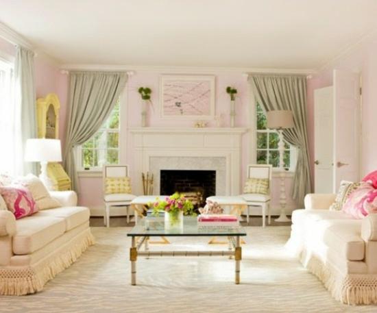 interior design home ideen femenin wohnzimmer pastelfarben frisch