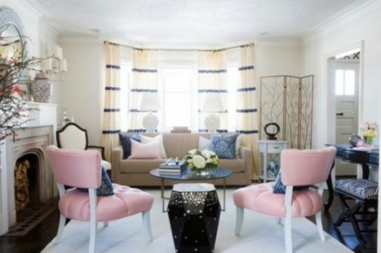 interior design home ideen femenin wohnzimmer pastelfarben rosa