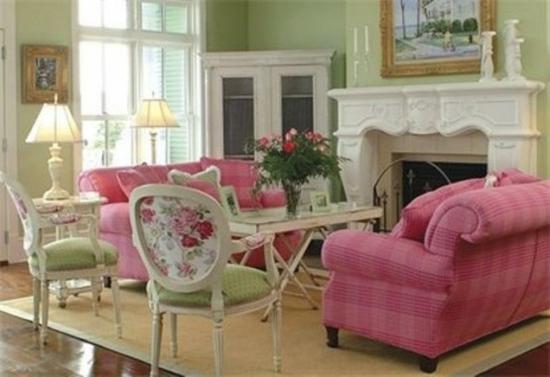 interior design home ideen femenin wohnzimmer rosa weiß