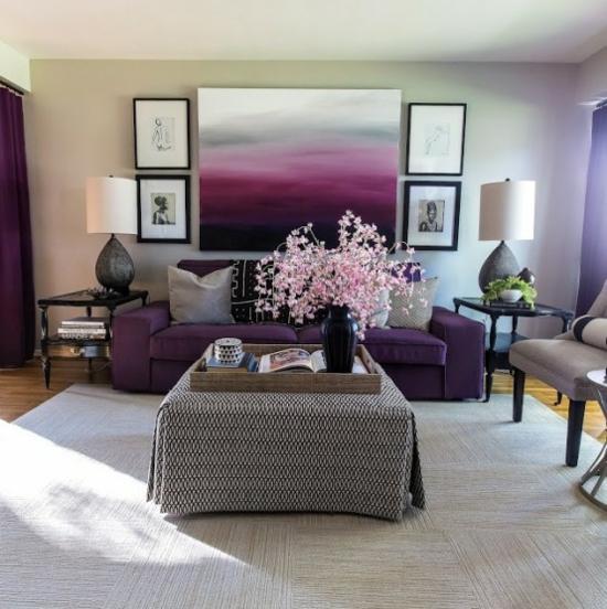 interior design home ideen femenin wohnzimmer wandgemälde